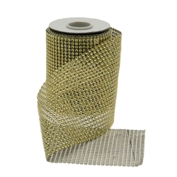 12.5cm x 5yds Gold Diamanté Ribbon