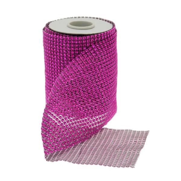 12.5cm x 5yds Pink Diamanté Ribbon