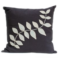 Slate linen cushion with cream leaf design