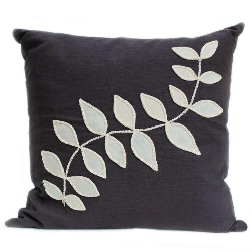 Slate linen cushion with cream leaf design