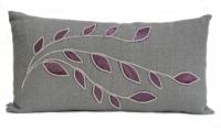Linen cushion with plum leaf design