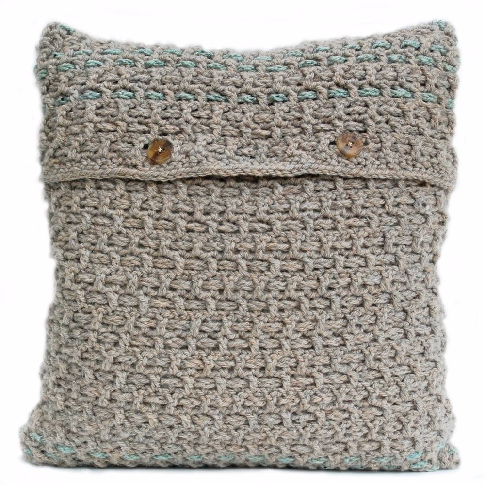 Hand crocheted and woven cushion