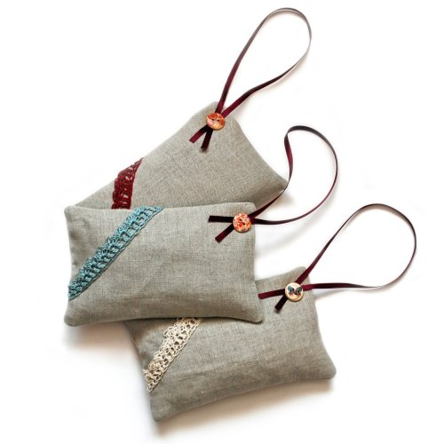 Long linen lavender bag