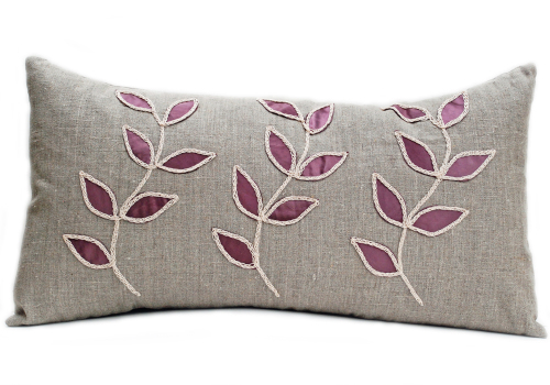 Linen cushion with steel leaf design-D3