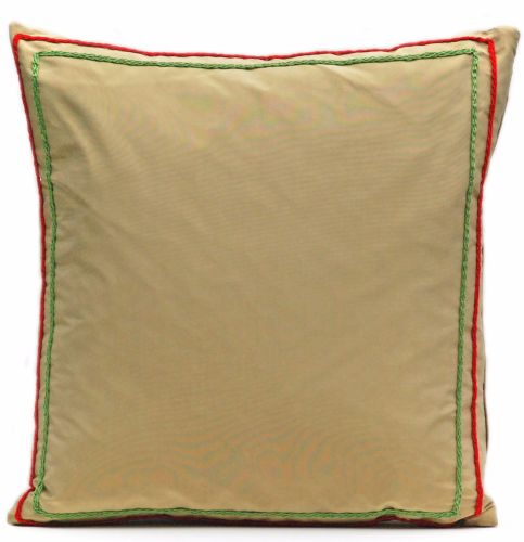 Gold silk cushion with crocheted detail
