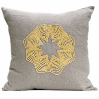 Linen cushion with crocheted star