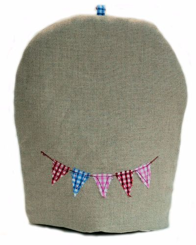 Linen coffee cosy with embroidered bunting