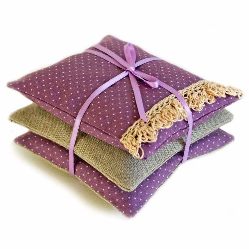 Mini lavender bag set with crocheted lace