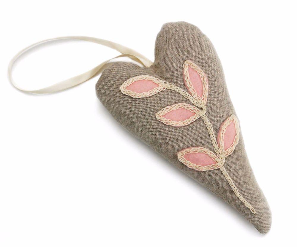Linen heart lavender bag