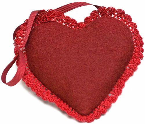 Red wool heart felt lavender bag