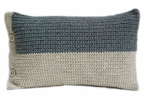 Hand crocheted grey natural cushion
