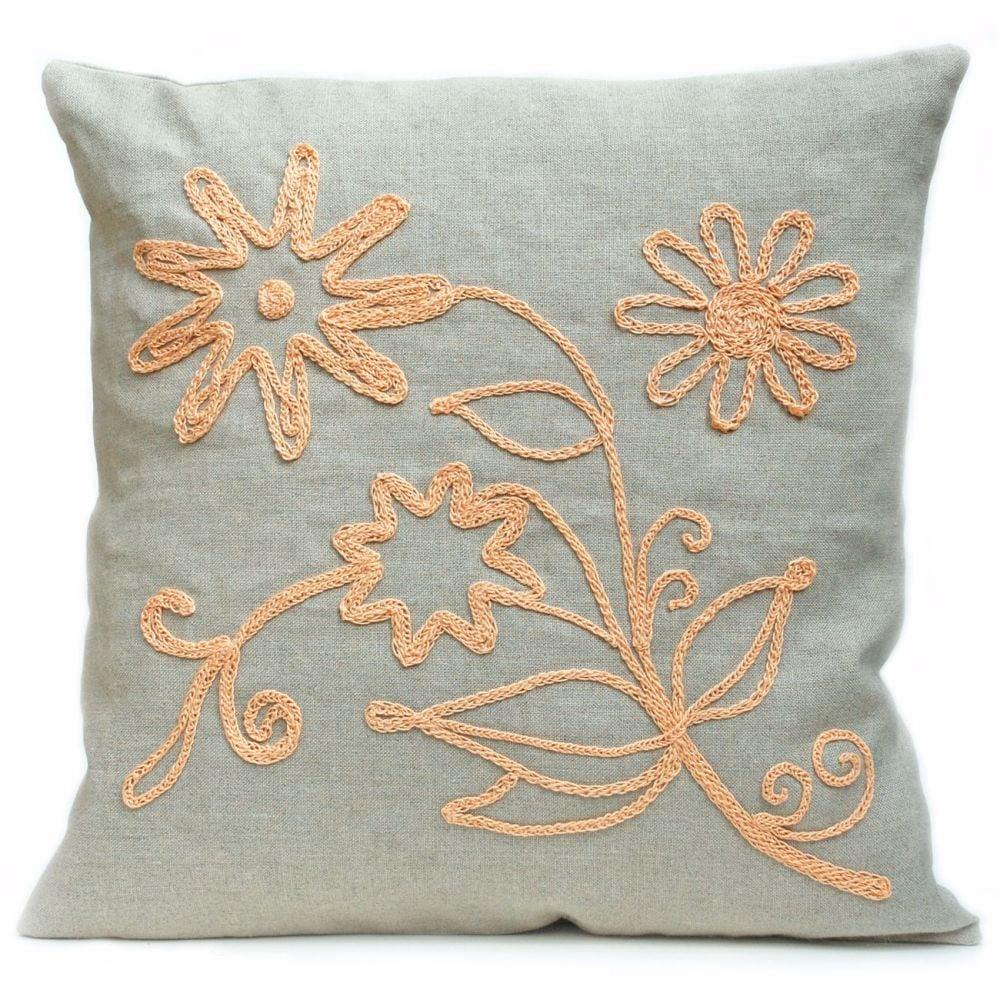 Floral design linen cushion