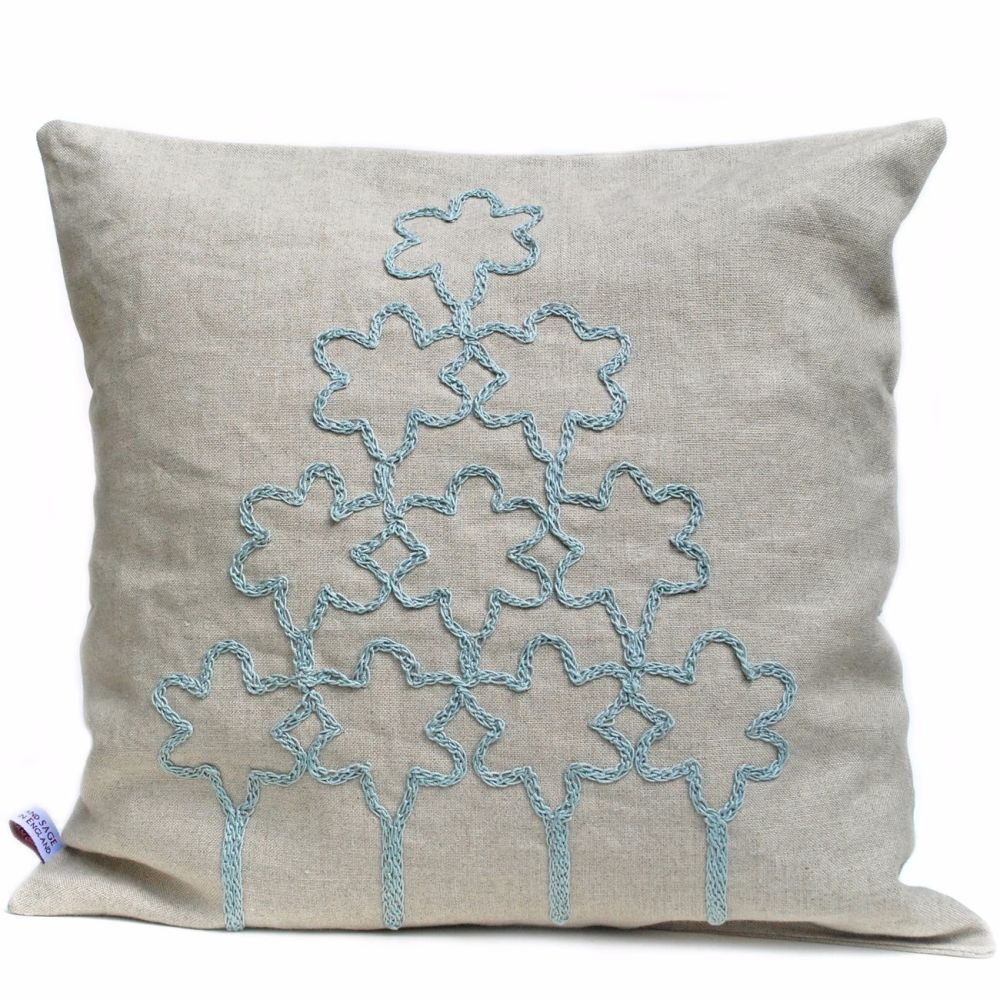 Flower tree design linen cushion