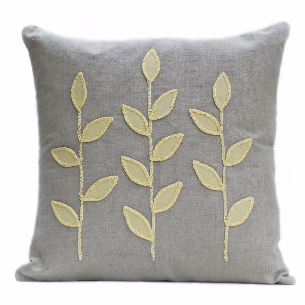 Linen cushion with wool felt primrose leaves