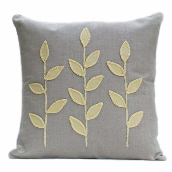 Linen cushion with wool felt primrose leaves