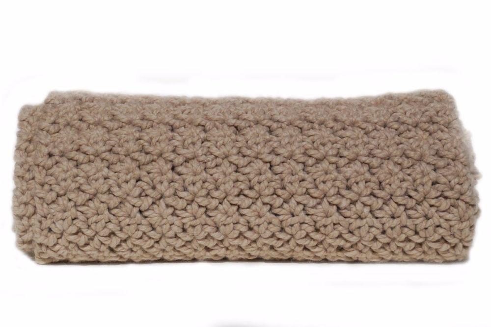 Chunky crocheted throw in wool