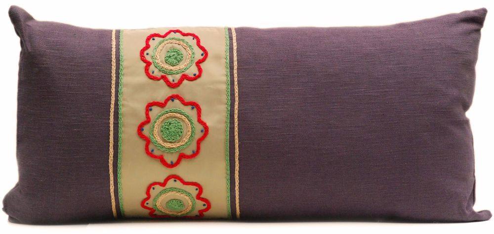 Slate linen lumber cushion with gold floral band