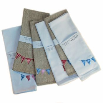 White cotton tea towel with bunting detail