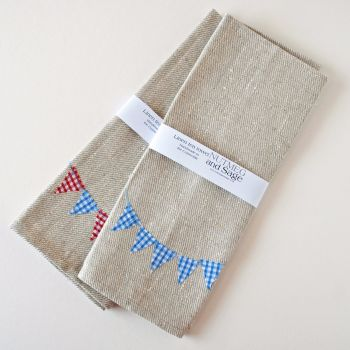 Linen tea towel with bunting design