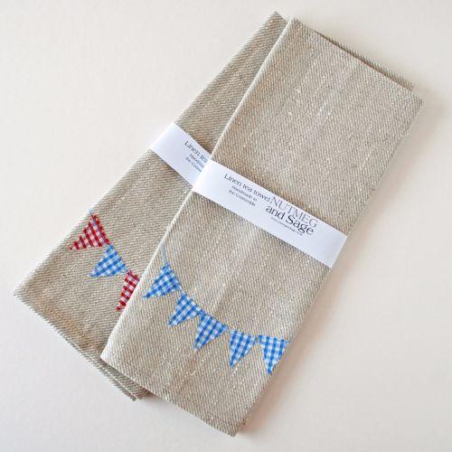 Linen tea towel with bunting design