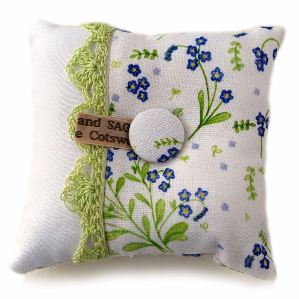 Pin cushion in Forget-Me-Not design