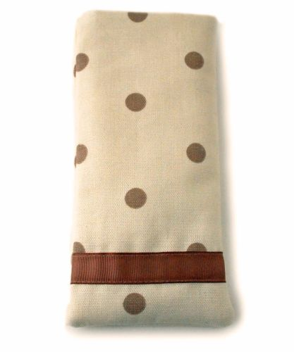 Mobile phone cover in cream and taupe spots design