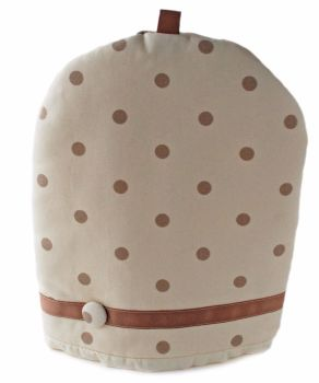 Cream and taupe spots coffee cosy