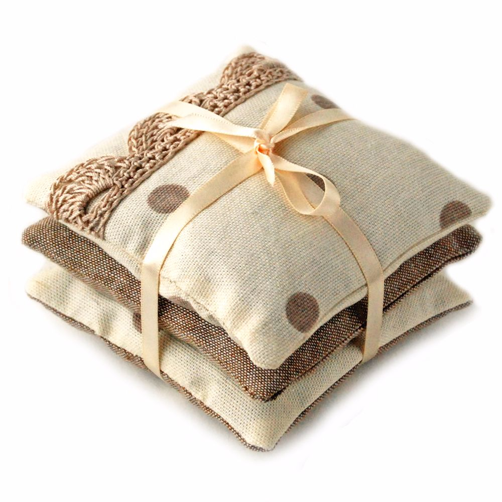 Linen And Cotton Lavender Bags In Cream And Taupe Spots