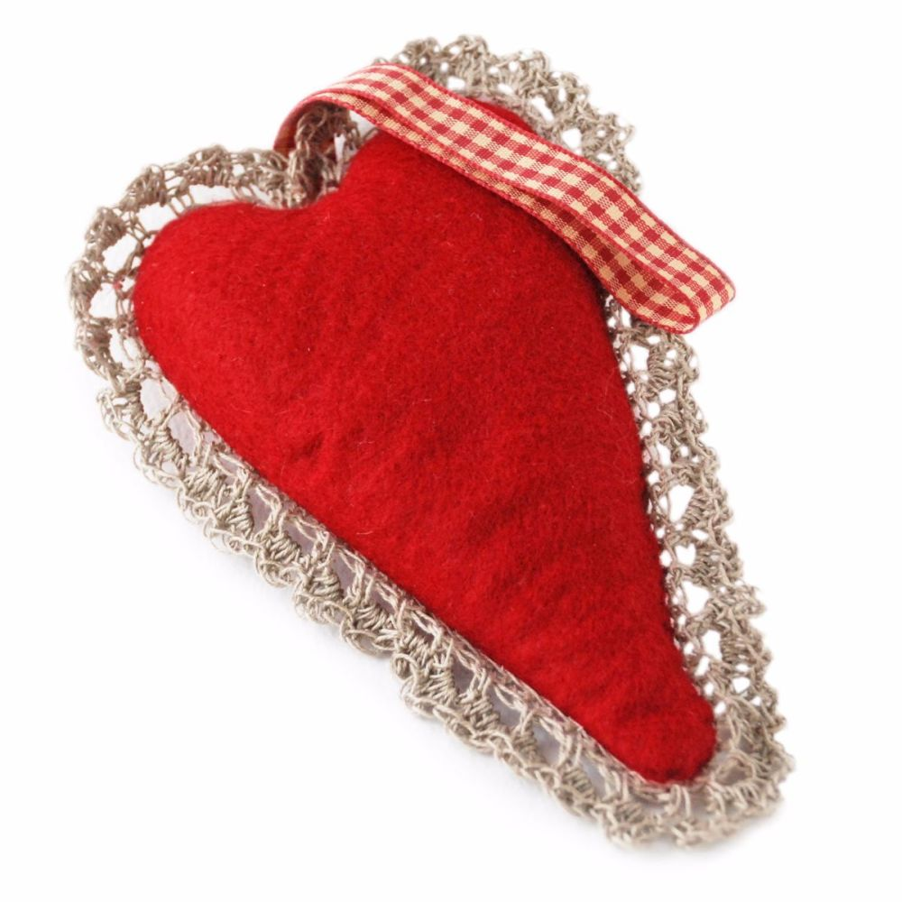 Red wool felt heart lavender bag with linen crochet