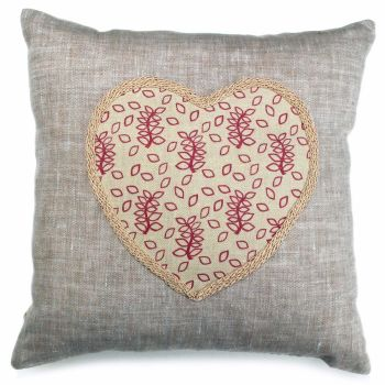 Linen cushion with dusky rose and cream heart detail