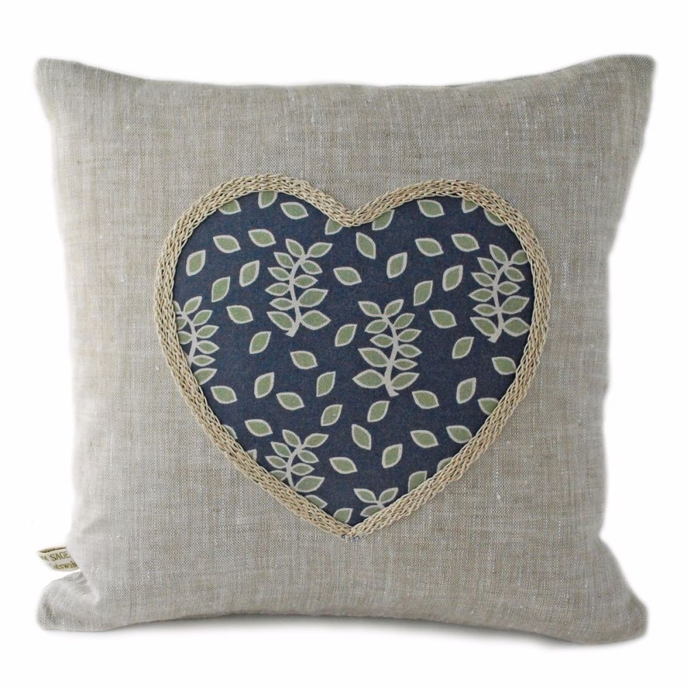 Smokey leaves linen cushion with heart detail