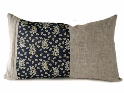 Linen lumbar cushion with a smokey leaves panel detail
