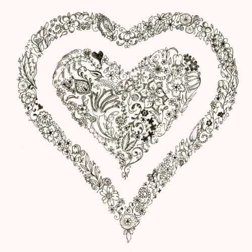 Floral heart design greetings cards