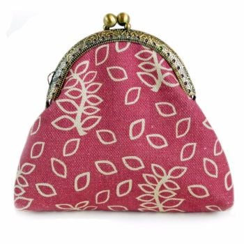 Dusky rose leaves clasp purse