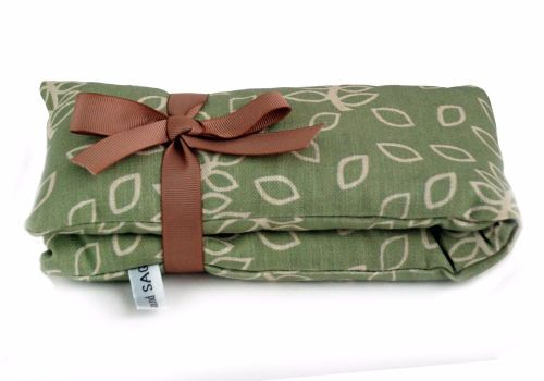 Wheat and lavender heat bag in green leaves design