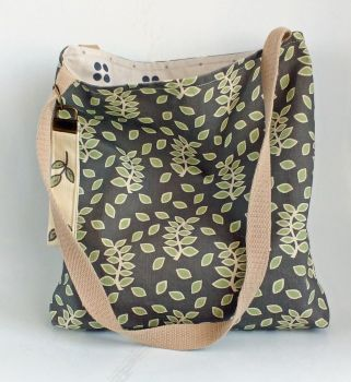 Smokey leaves tote bag with inside pocket - handmade in the Cotswolds