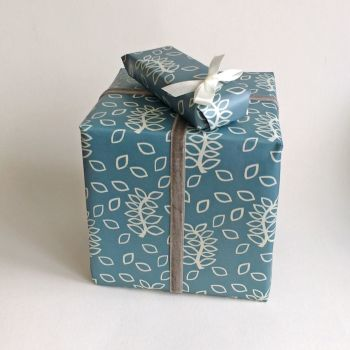 Blue leaves gift wrap
