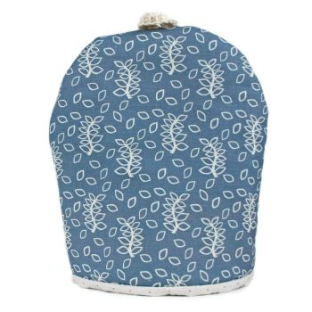 Blue leaves coffee cosy
