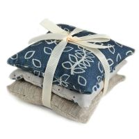 Blue leaves trio of lavender pillows