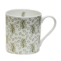 Green leaves china mug