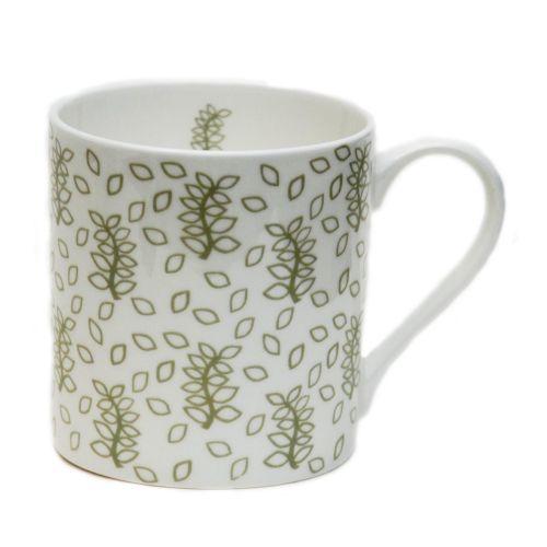 Green leaves china mug