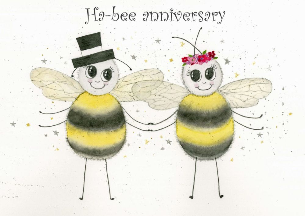 Ha-bee anniversary greetings card