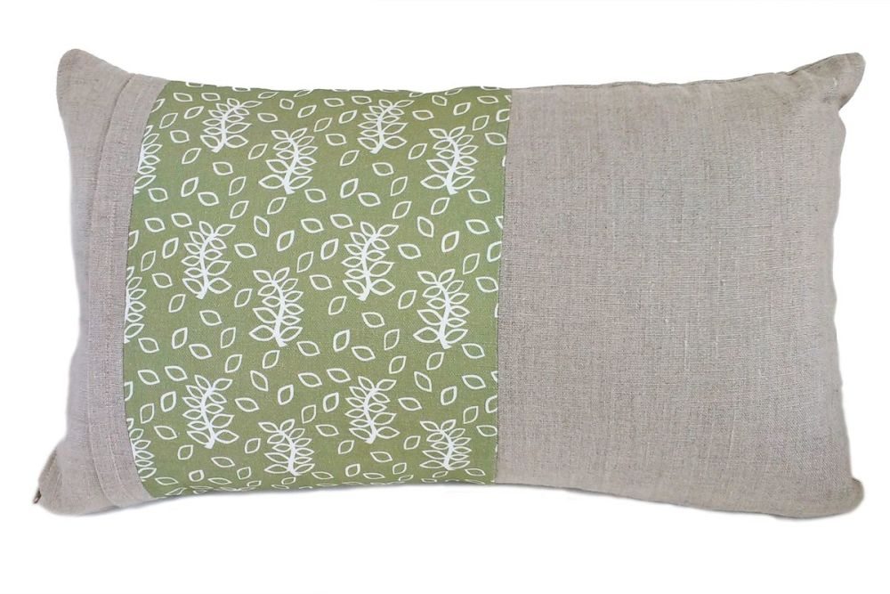 Linen lumbar cushion with a green leaves panel detail