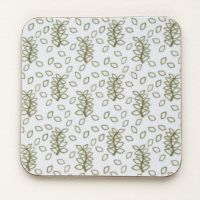 Green leaves coasters in white