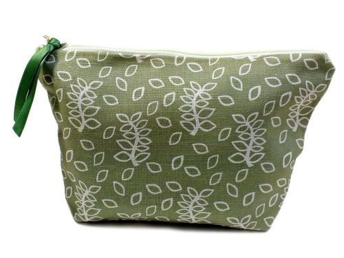 Medium pouch in green leaves design