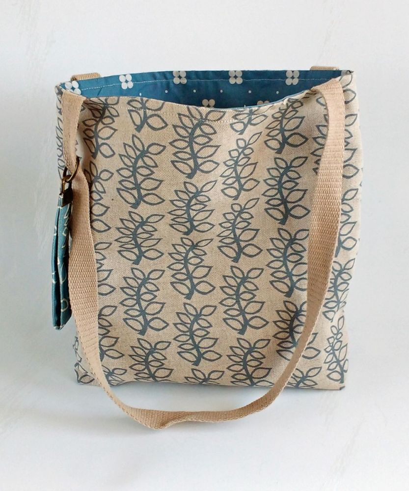 Linen leaves tote bag