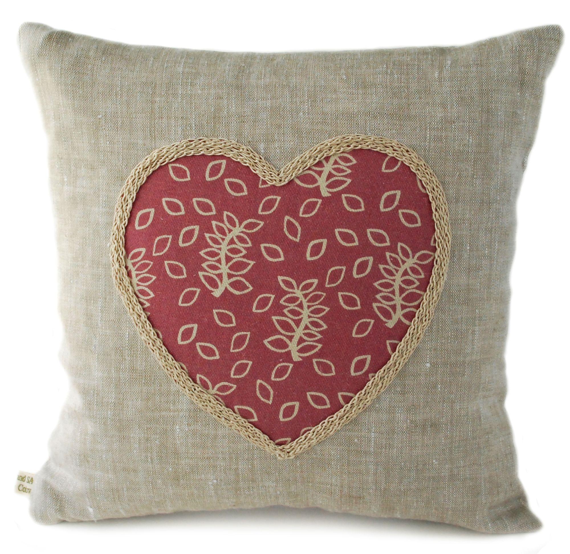 Dusky rose leaves linen scatter cushion