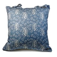 Blue leaves cushion with ties