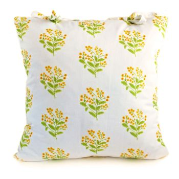 Cowslip cushion with ties
