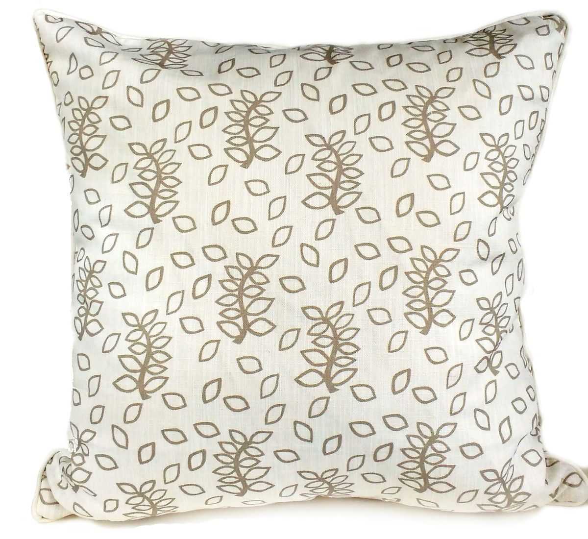 vory leaves handmade piped linen cotton mix cushion